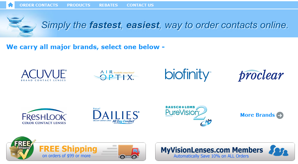 Simply the fastest, easiest way to order contacts online.  We carry all major brands, select one below -